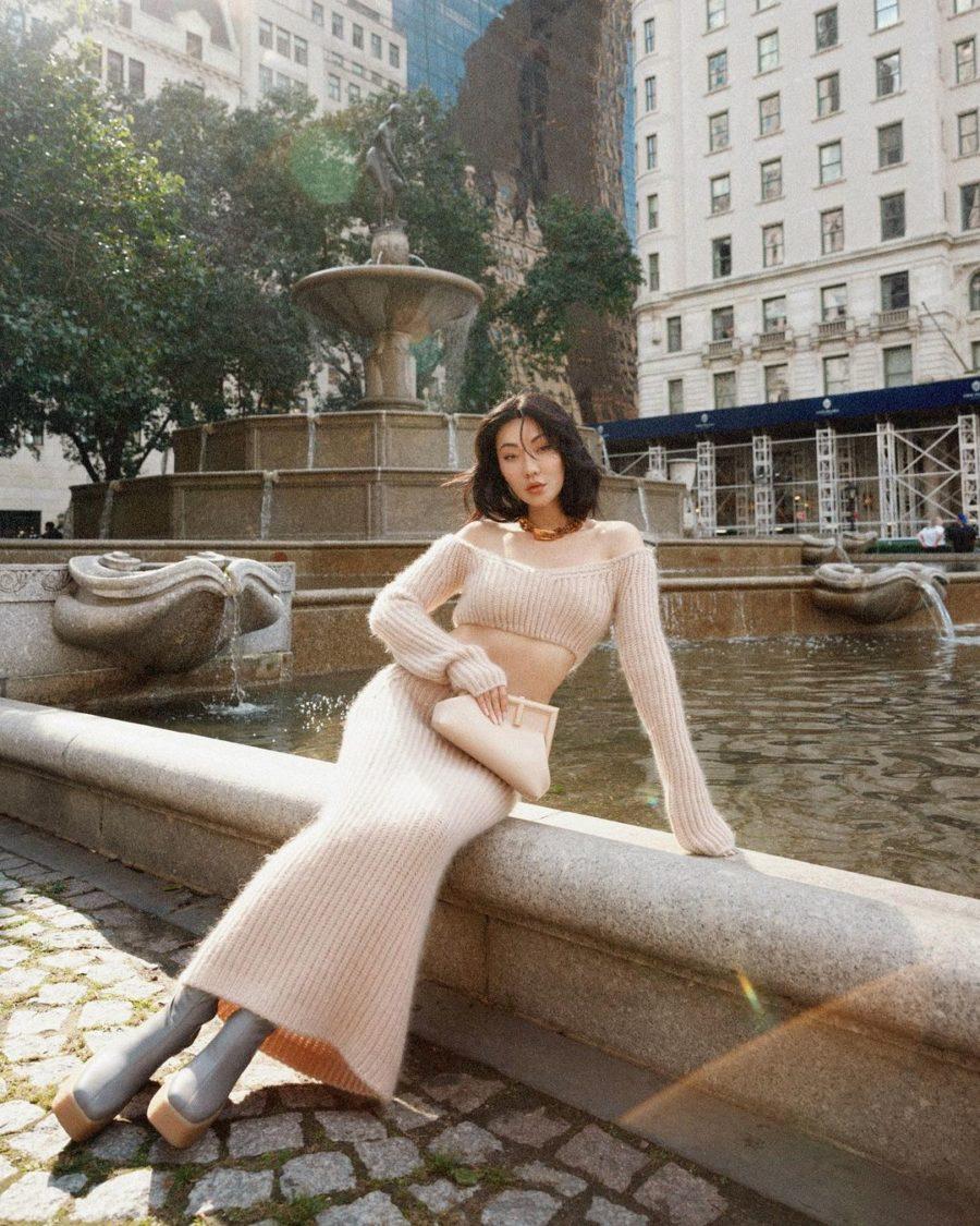 Jessica Wang wearing fall wedding guest outfits featuring a fuzzy matching knit set // Jessica Wang - Notjessfashion.com