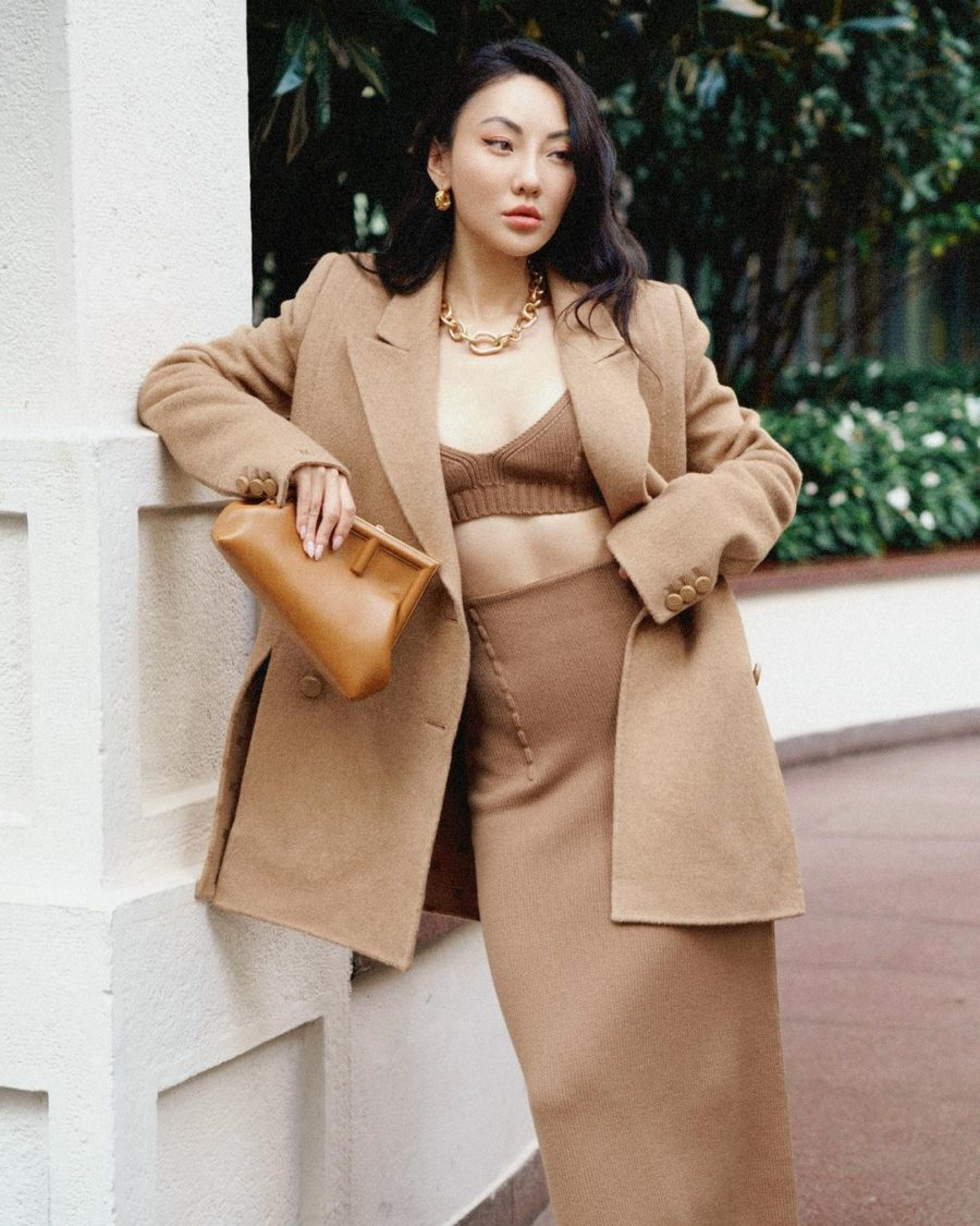 Jessica Wang wearing fall wedding guest outfits featuring a camel sweater set // Jessica Wang - Notjessfashion.com