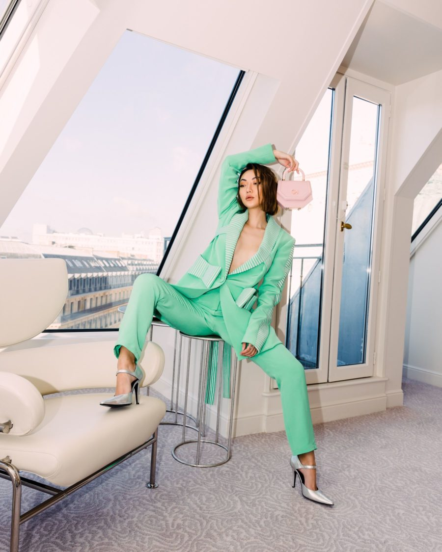Jessica Wang wearing a green suit for fall // Jessica Wang - Notjessfashion.com