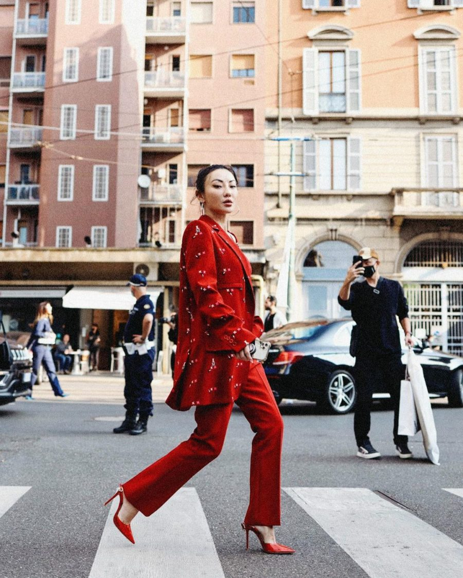 Jessica Wang wearing a red Max Mara Coat with a red Max Mara tank top and red Max Mara trousers in Milan // Jessica Wang - Notjessfashion.com
