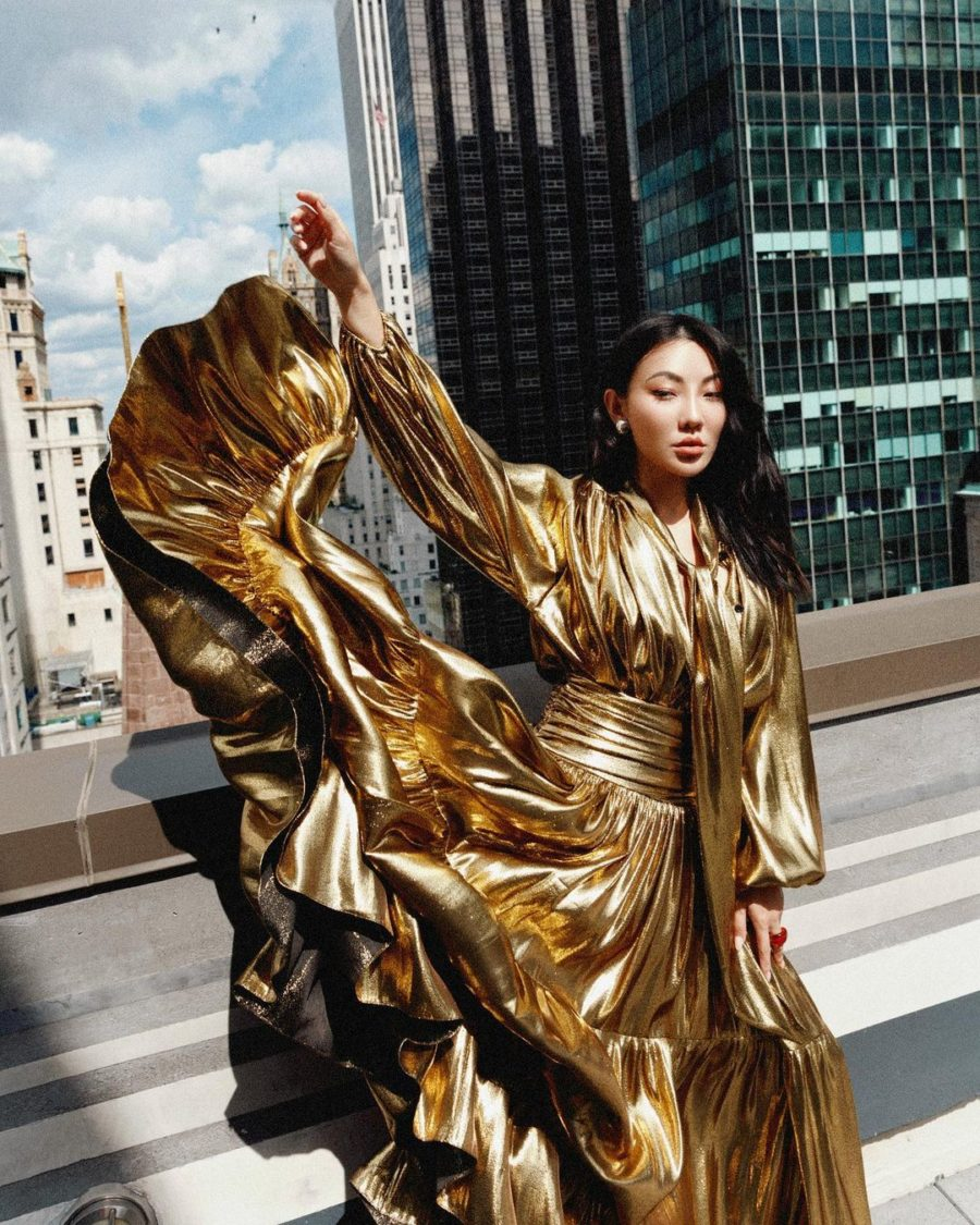 jessica wang wearing spring 22 trends from nyfw featuring a metallic gold dress // Jessica Wang - Notjessfashion.com