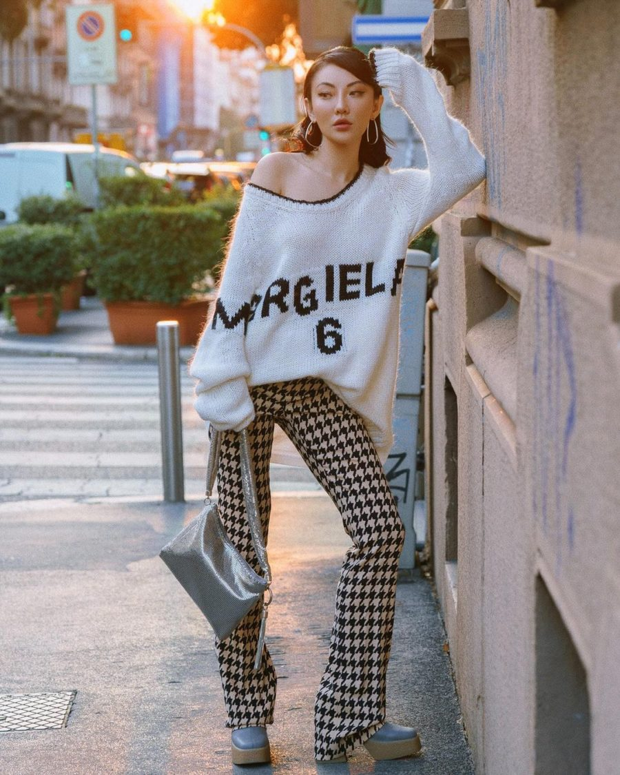 fall street style looks featuring Jessica Wang wearing a printed houndstooth pants and Stella McCartney Platform boots in Milan // Jessica Wang - Notjessfashion.com
