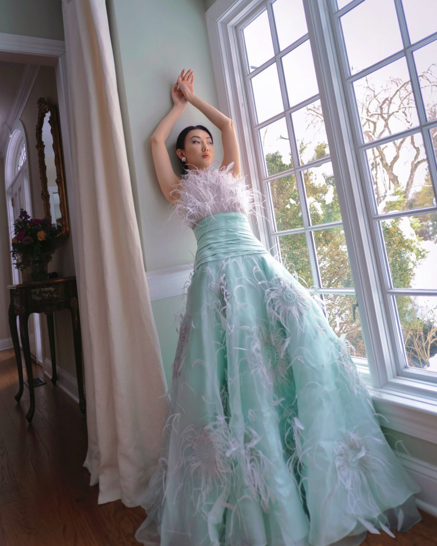 Jessica Wang wearing a beaded green dress // Jessica Wang - Notjessfashion.com