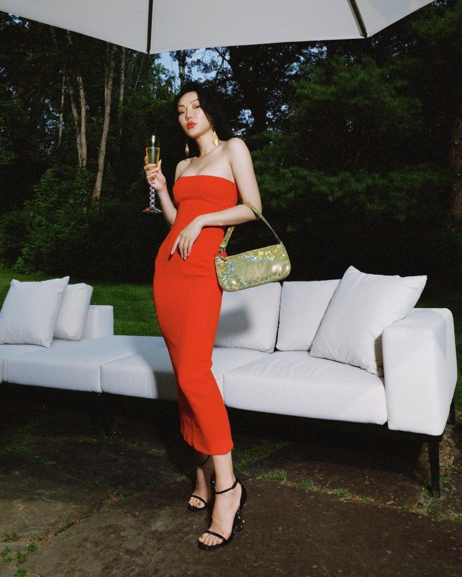 Jessica Wang wearing a red strapless bodycon midi dress and saint laurent opyum sandals with green nail polish while sharing fall 2021 nail colors // Jessica Wang - Notjessfashion.com