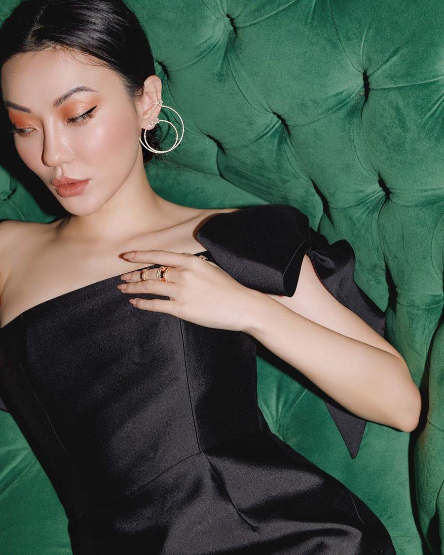 Jessica Wang wearing a black blazer with messika jewelry and nude nail polish while sharing fall 2021 nail colors // Jessica Wang - Notjessfashion.com