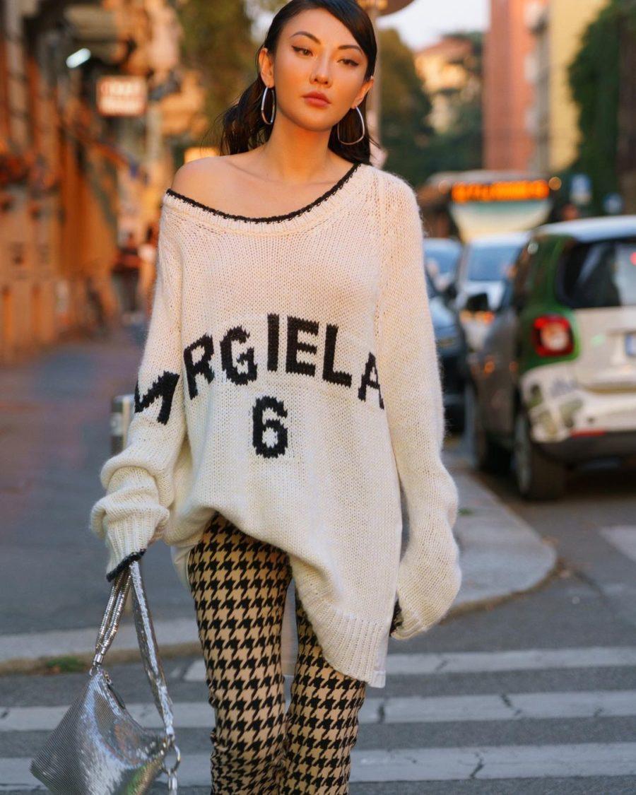 fall street style looks featuring Jessica Wang wearing an MM6 Maison Margiela Sweater and Stella McCartney Platform boots // Jessica Wang - Notjessfashion.com
