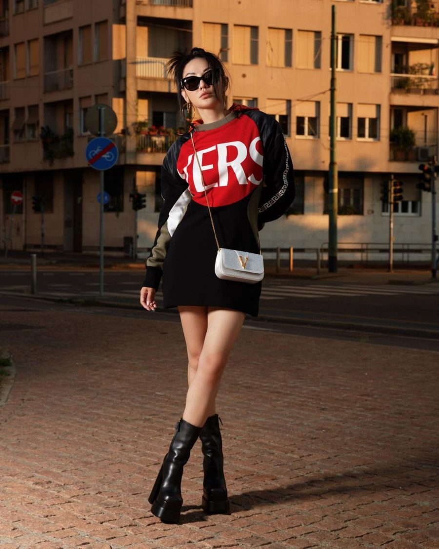 Jessica Wang wearing a color block versace sweater dress with platform boots and a white crossbody bag // Jessica Wang - Notjessfashion.com