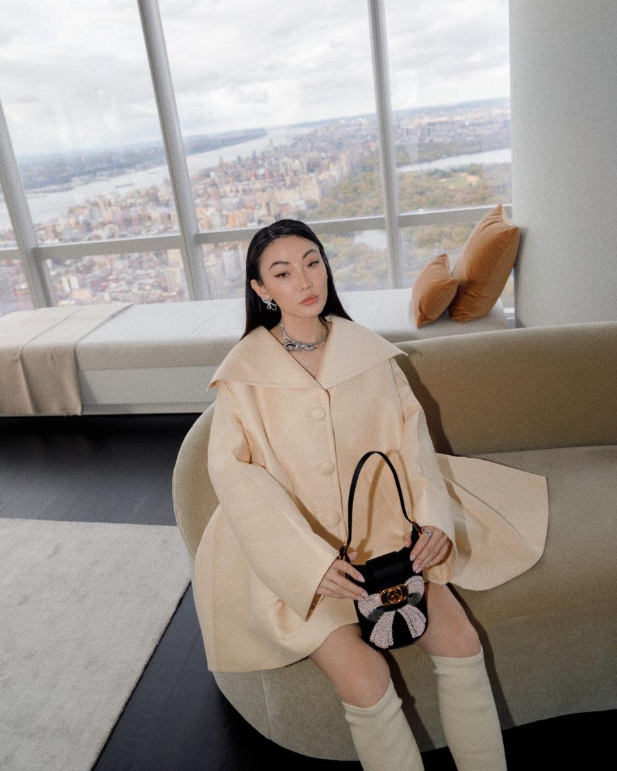 jessica wang wearing a beige cape coat while sharing shopbop fall sale picks // Jessica Wang - Notjessfashion.com