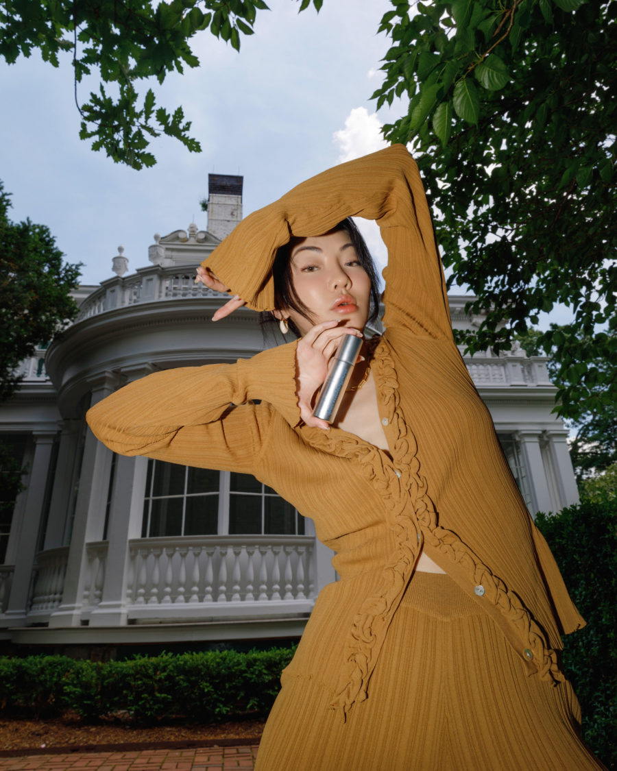 jessica wang wearing a mustard matching knit set from the shopbop fall sale // Jessica Wang - Notjessfashion.com