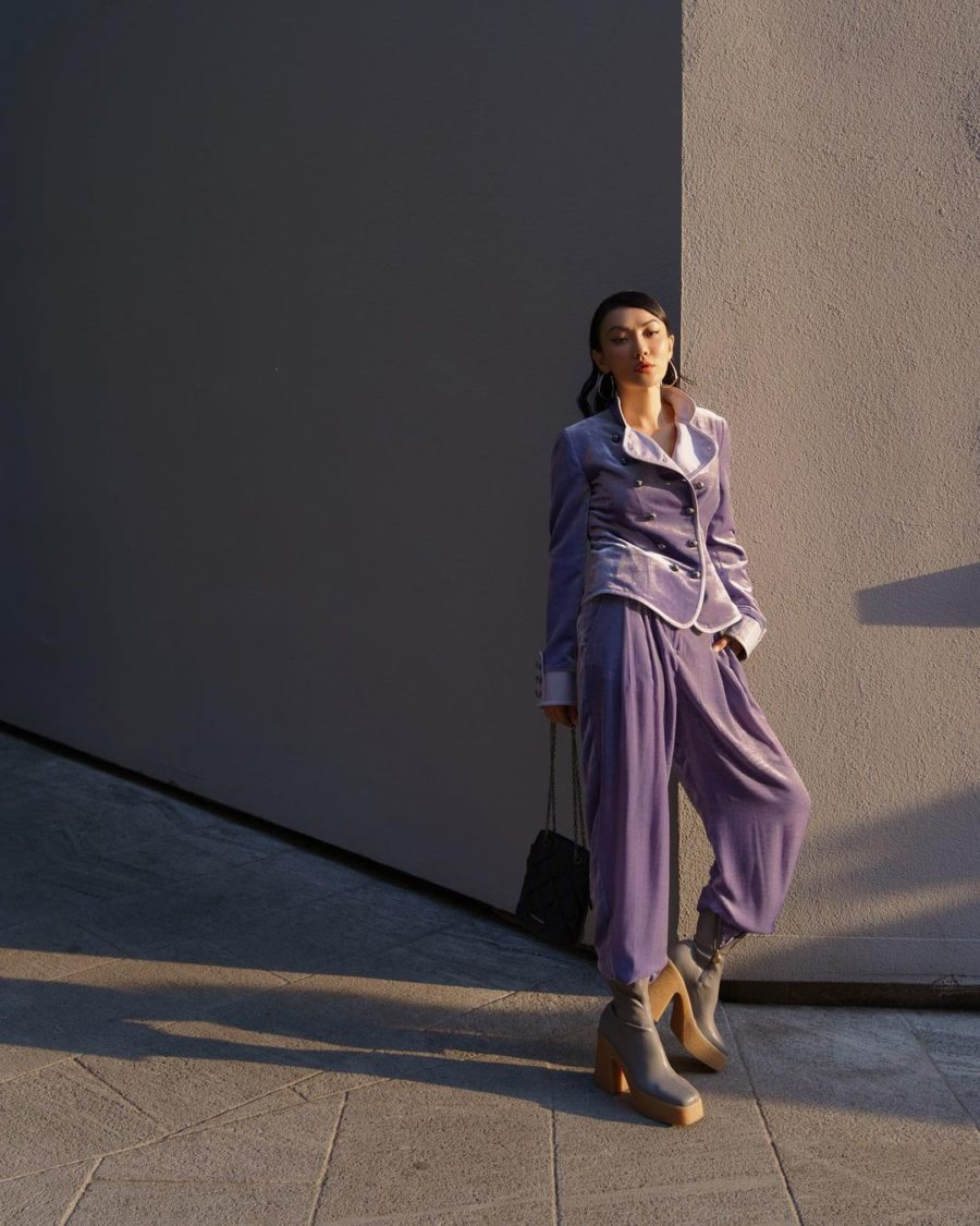 Jessica Wang wearing a lilac velvet suit featuring Emproio Armani while sharing her favorite Paris Fashion Week looks // Jessica Wang - Notjessfashion.com