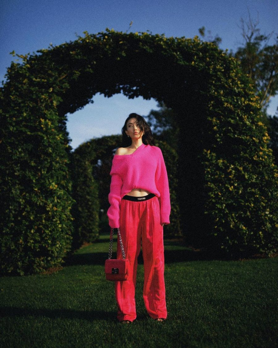 Jessica Wang wearing fall must-haves featuring a fuschia knit sweater with pink pants // Jessica Wang - Notjessfashion.com