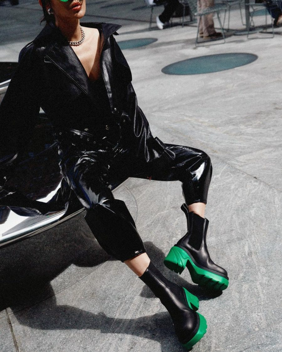 Jessica Wang wearing fall must-haves featuring a cropped leather jacket and leather pants with leather platform chelsea boots by bottega veneta // Jessica Wang - Notjessfashion.com