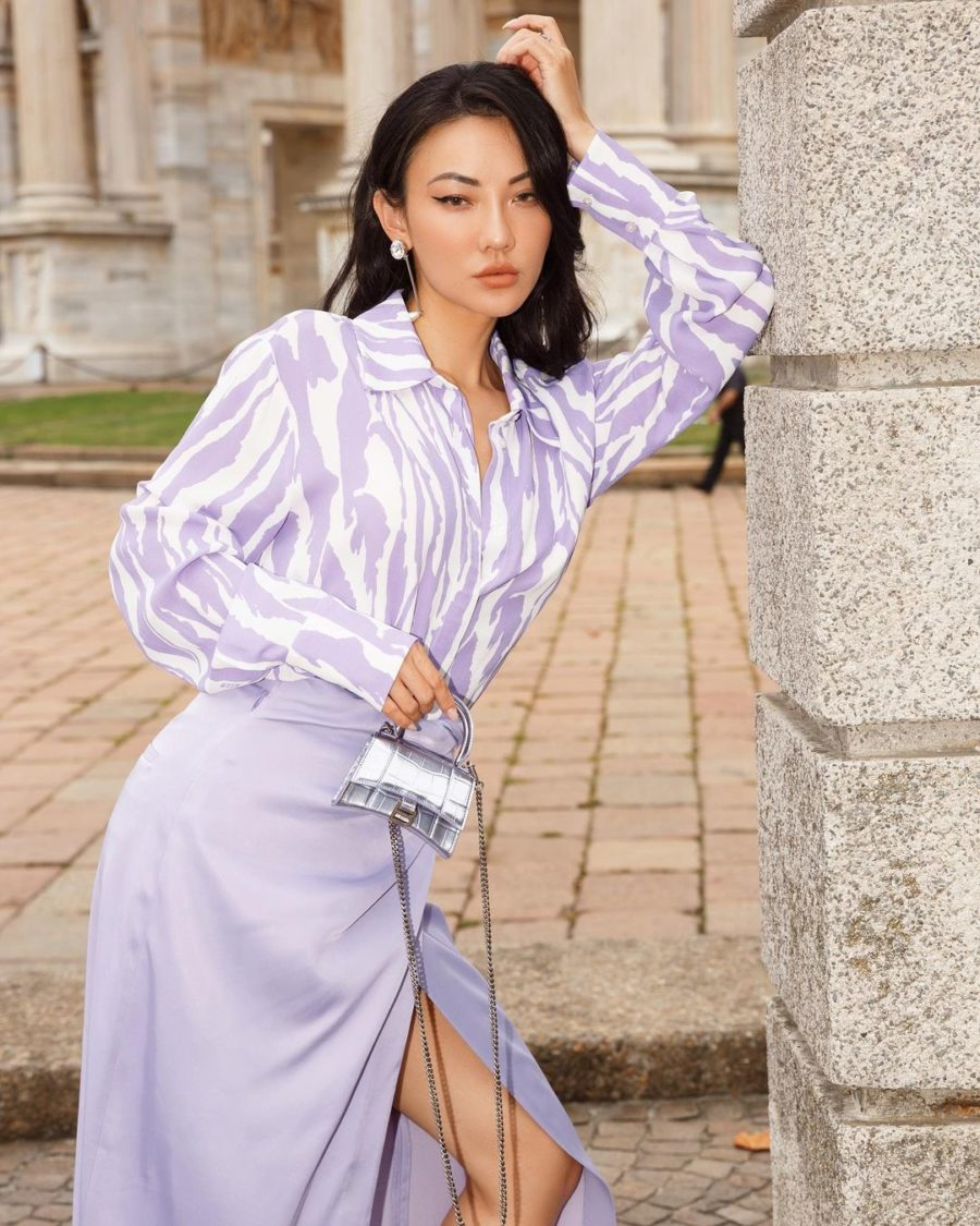 Jessica Wang wearing paris fashion week looks featuring a tiger print button up and a lavender midi skirt with Jimmy choo boots // Jessica Wang - Notjessfashion.com