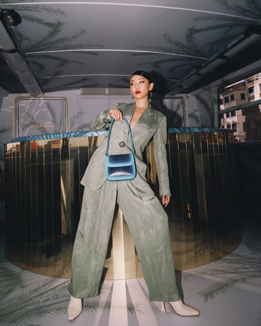 Jessica Wang wearing fall must-haves featuring a blazer and trousers in sage by giorgio armani // Jessica Wang - Notjessfashion.com