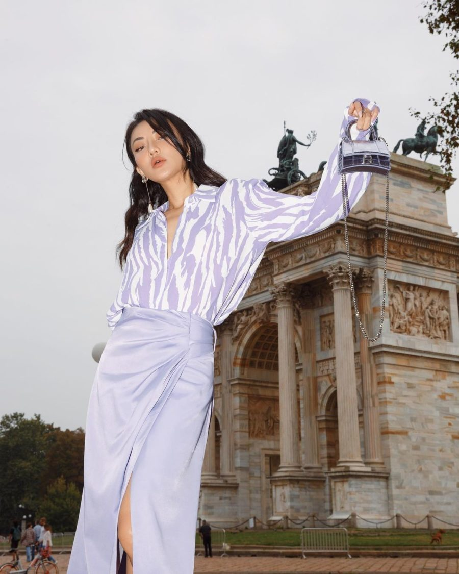 jessica wang wearing a lavender outfit for paris fashion week // jessica wang - notjessfashion.com